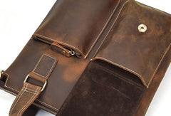 Genuine Leather Messenger Bag Briefcase Bag Cross Body Cool Chest Bag Sling Bag Travel Bag Hiking Bag For Men