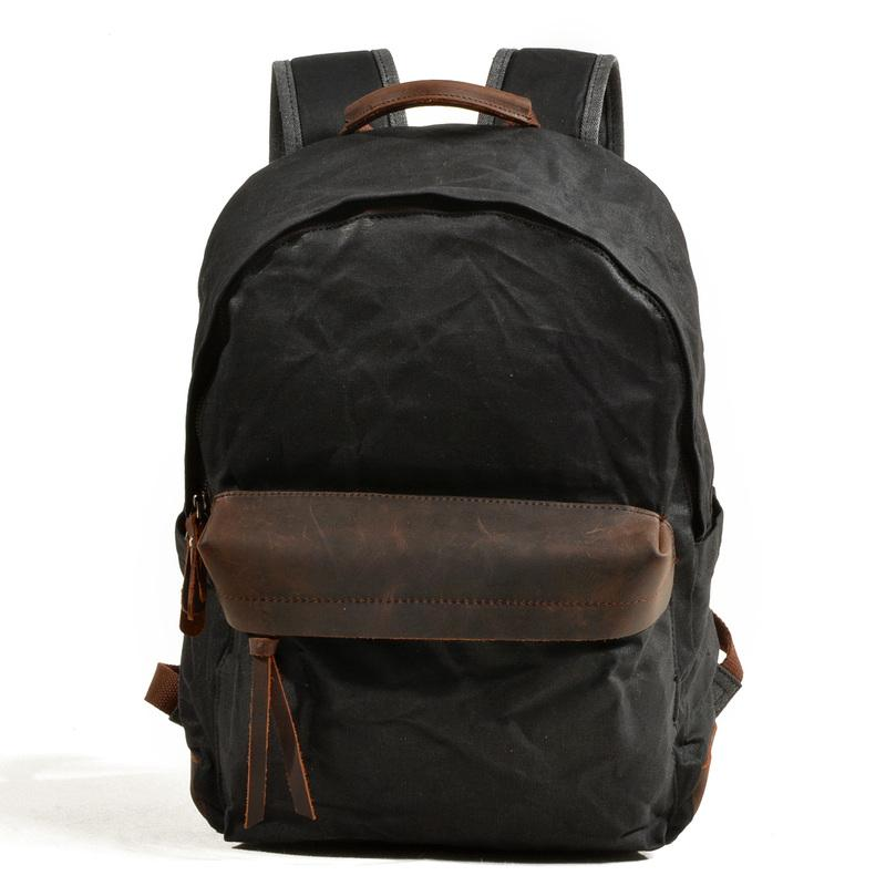 Cool Canvas Leather Mens Green Backpack Computer Backpack Black Travel Backpack for Men