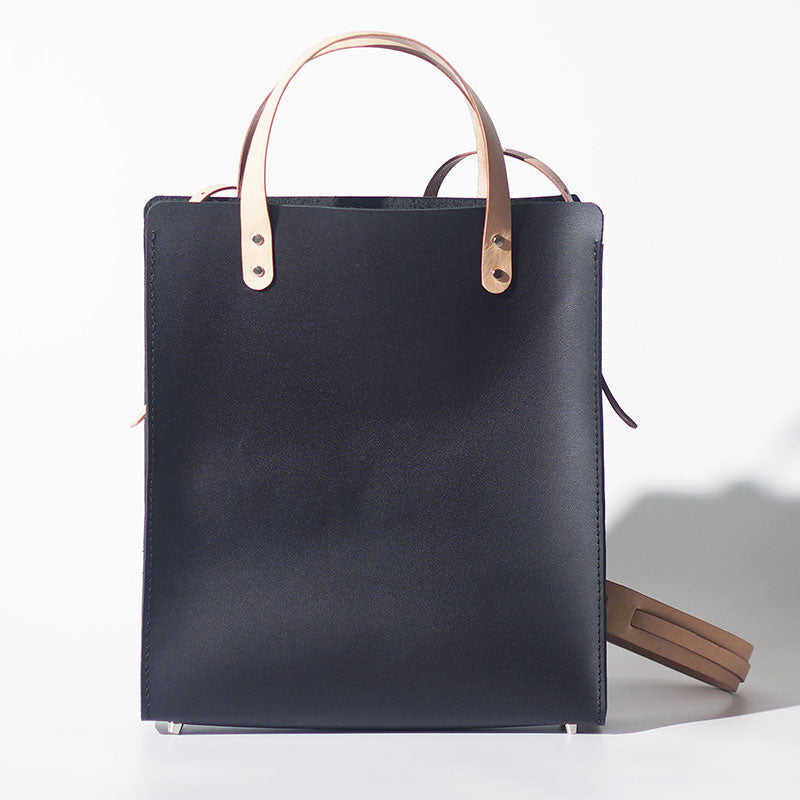 Handmade Leather Black Womens Tote Purse Handbag Tote Shopper Bag for Women