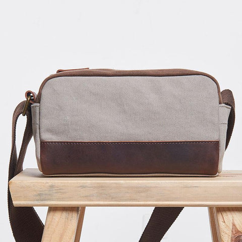Mens Canvas Leather Gray Cool Messenger Bag Side Bag for Men