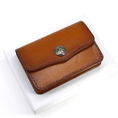 Handmade Leather Mens Change Wallet Card Wallet Front Pocket Wallets Small Wallets for Men