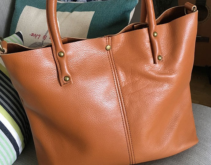 Fashion WOMENs LEATHER Work Tote Bag Vintage Tote Shoulder Purse FOR WOMEN
