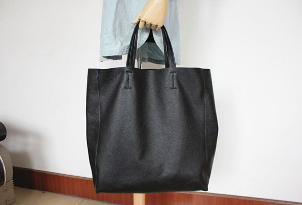 On Sale Handmade Womens Leather Black Tote Bag Stylish Large Leath