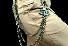 Brass biker trucker punk skull hook wallet Chain for chain wallet biker wallet trucker wallet