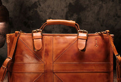 Genuine Leather Mens Briefcase Messenger Bag iPad Bag Chest Bag Bike Bag Cycling Bag for men