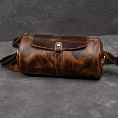 Leather Mens Vintage Brown Side Bag Barrel Messenger Bag Small Bucket Bag For Men