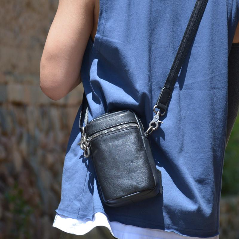 Black LEATHER MEN'S Small Belt Pouch Mini Side bag Vertical Phone Bag MESSENGER BAG Waist Bag FOR MEN
