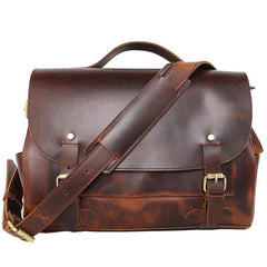 Vintage Dark Brown Leather Mens 14 inches Briefcase Black Work Briefcase Handbag For Men