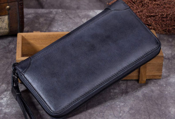 Genuine Leather Wallet Zip Long Wallet Short Wallet Purse For Men Women