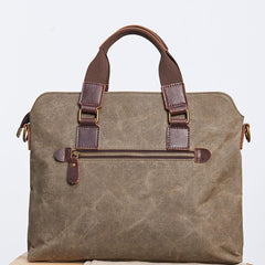 Mens Gray Canvas Briefcase Handbag Work Bag Business Bag for Men
