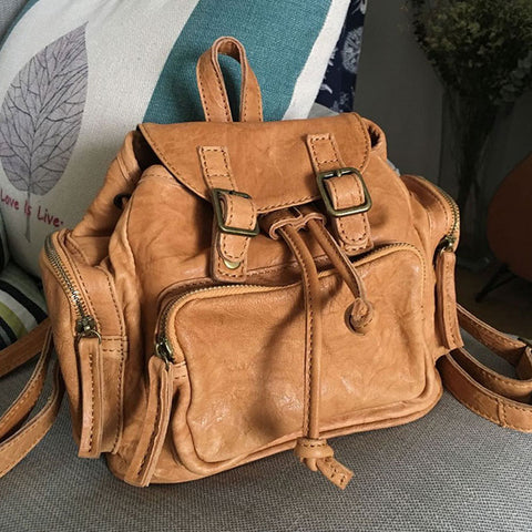 Vintage LEATHER Small WOMENs Backpack School Backpack Travel Backpack FOR WOMEN