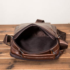 Cool Brown Leather Men's Small Vertical Messenger Bag Brown Small Side Bag For Men