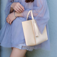 Handmade Leather Small Beige Womens Tote Shoulder Bag Handbag Purse Tassels for Women