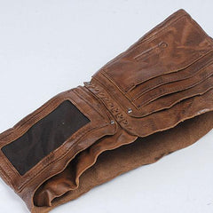 Cool Leather Mens Small Bifold Leather Wallet Men Short Wallets for Men