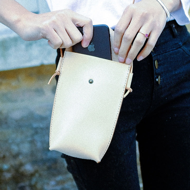 Handmade Leather Beige Womens Small Phone Crossbody Purse Shoulder Bag for Women