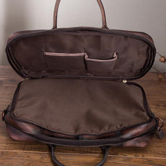 Vintage Brown Leather Men's Briefcase 14'' Computer Briefcase Professional Handbag For Men