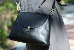Handmade black cute purse leather crossbody bag shoulder bag women