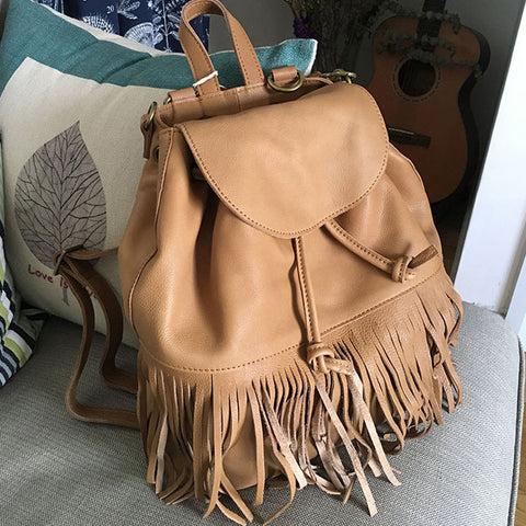 Vintage LEATHER WOMEN Tassels Backpack School Backpacks Tassels Travel Backpack FOR WOMEN