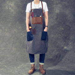 Canvas Leather Mens Womens Blue Craftsman Apron Cafe Staff Apron Work Apron for Men