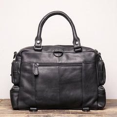 Black Leather Men 14 inches Briefcase Handbag Laptop Handbag Messenger Bag For Men
