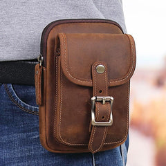 Brown Leather Cell Phone Holster Waist Pouches Belt Pouch Belt Bag For Men