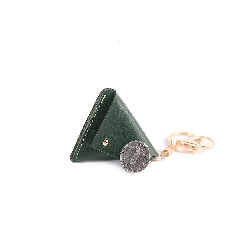 Cute Leather Womens Small Triangular Change Wallet Coin Holder Change Holder for Women