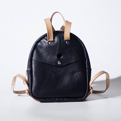 Handmade Women Mini Leather Black Backpack Cute Small Backpack for Women