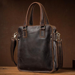 Vintage Dark Brown Leather 12 inches Veritcal Briefcase Work Bag Messenger Bags Handbag for Men