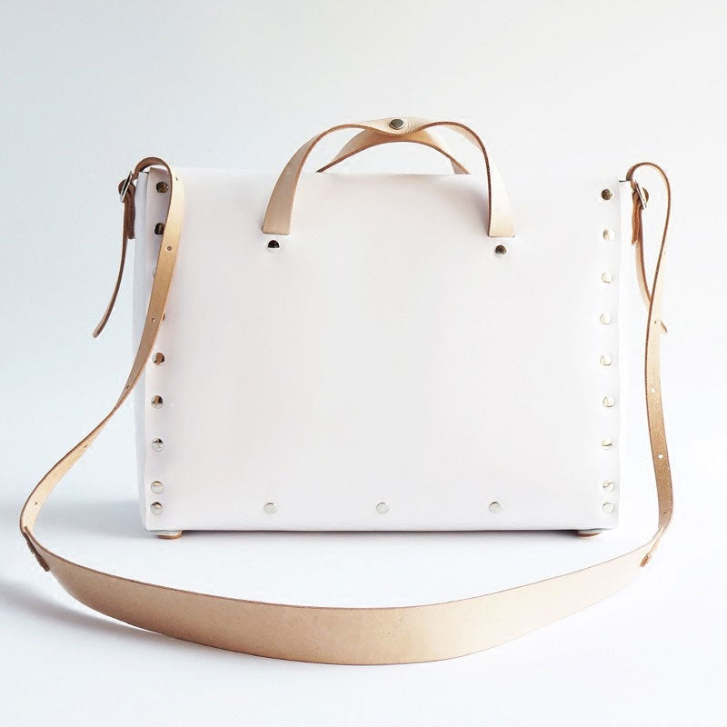 Handmade Leather White Womens Handbag Fashion Work Shoulder Bag for Women