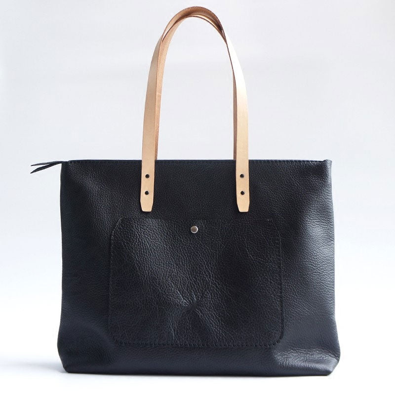 Handmade Black Leather Tote Purse Shoulder Bag Shopper Tote Bag for Women