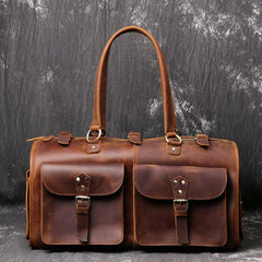 Cool Leather Mens Travel Bag Overnight Bag Work Handbag Business Travel Bags for Men