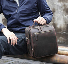 Black Coffee Fashion Leather Mens Vintage Small Handbag Messenger Bags Side Bag For Men