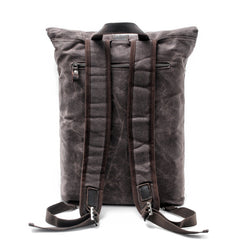 Waxed Canvas Leather Mens College Waterproof 15'' Computer Backpack Travel Backpack Hiking Bag for Men