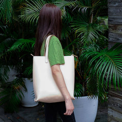 Handmade Leather Beige Womens Tote Purse Tote Shoulder Bags for Women