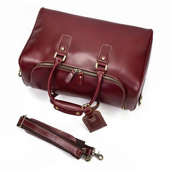 Classy Red Leather Men Barrel Overnight Bags Doctor Bag Travel Bags Weekender Bags For Men