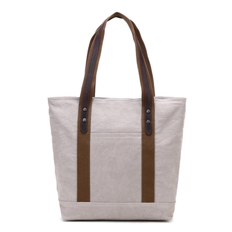 Casual Canvas Leather Womens Mens Large White Tote Bag Shoulder Bag Khaki Tote Purse For Women