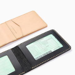 Cool Leather Mens Slim License Wallet Front Pocket Wallet Slim Card Wallet for Men