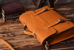 Handmade leather mens Briefcase business Briefcase Shoulder Bag Laptop Briefcase