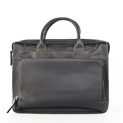 Vintage Black Mens Leather Briefcases Work Handbag Black 14'' Computer Briefcases For Men