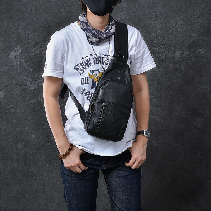 "Cool Leather Mens 10"" Black Sling Bag Chest Bag One Shoulder Backpack for Men"