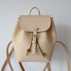 Handmade Leather Beige Womens Backpack Travel Backpack School Backpack for Women