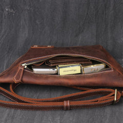 Vintage Brown Leather Men's Fanny Pack Hip Pack Waist Bag For Men
