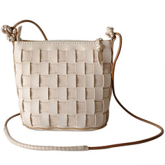 Cute Leather Beige Braided Womens Small Crossbody Purse Mini Shoulder Bag for Women