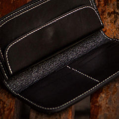 Handmade Leather Black Mens Chain Biker Wallets Cool Leather Wallet Long Clutch Wallets for Men