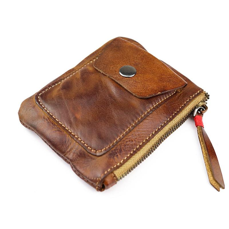 Vintage Brown Leather Men's Coin Wallet Black Small Short Wallet For Men