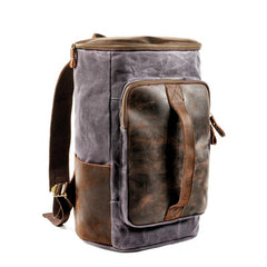 Cool Waxed Canvas Black Leather Mens 15.6'' Barrel Green Backpack Travel Backpack Hiking Backpack for Men
