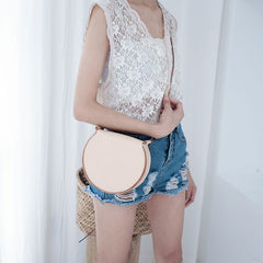 Cute Leather Beige Womens Small Round Saddle Crossbody Purse Shoulder Bag for Women