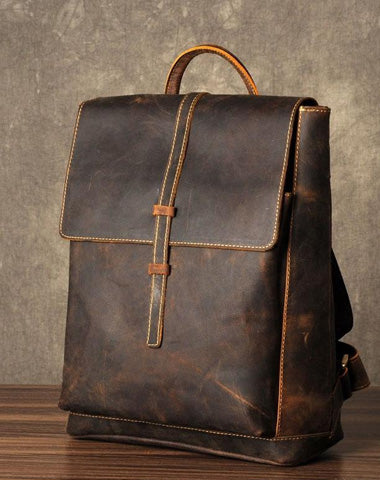 Leather Mens Cool Backpack Large Brown Travel Backpack School Backpack for men