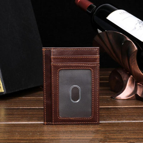 RFID Brown Leather Men's Slim Card Holder Black Front Pocket Wallet Small Card Wallet For Men