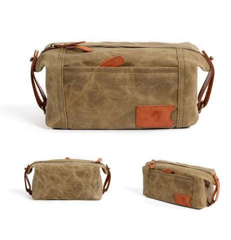 Cool Canvas Leather Mens Large Clutch Bag Handbag Storage Bag Wash Bag For Men